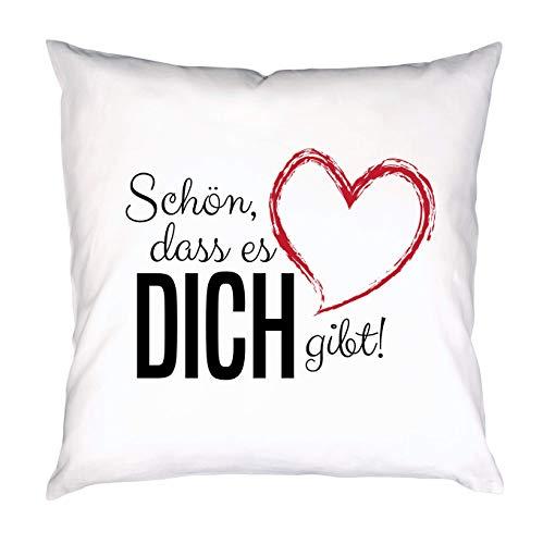 PHRASE 1 by FotoPremio Kissen mit Spruch | Schön, DASS es Dich gibt! | Deko-Kissen mit Motiv inkl. Füllung | 40 x 40 cm | Geschenkidee für den Liebsten oder die Liebste