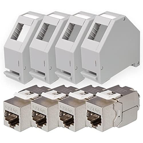 hb-digital Set: 4X Cat.6a Keystone Modul RJ45 + 4X Hutschienenadapter Keystone-Halterung für Hutschiene 35mm Standard | RJ35-Jack geschirmt werkzeuglose Montage Ethernet LAN Netzwerk STP LSA