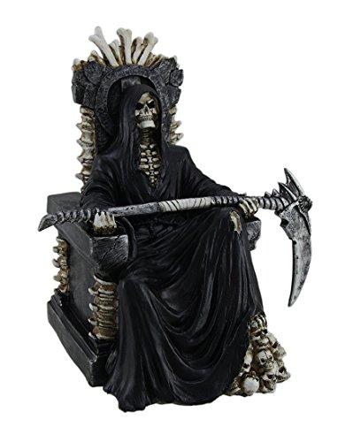 DWK-HD47341 - Grim Reaper - Muerte sentada en el Trono de Hueso con la Estatua de la Guadaña
