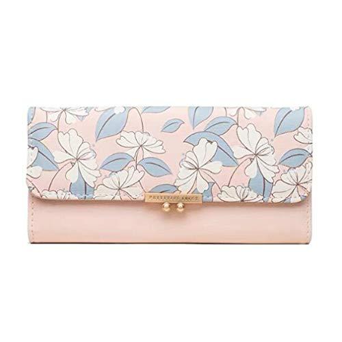 ZNMUCgs Faux Soft Leather Wallet Blumendruck Tragbare Taschen Organizer Pouch für Damen,Rosa