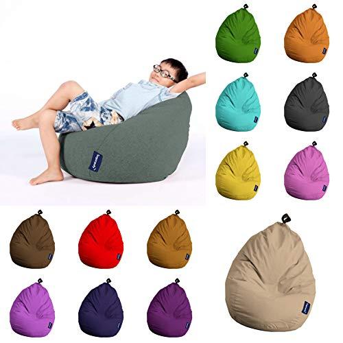 Sugarpufy Sitzsack Premium für Kinder Klein Sitzkissen im Kinderzimmer Indoor Sitzsäcke & Outdoor Bean Bag Hocker Rückenkissen mit Füllung (Grün)