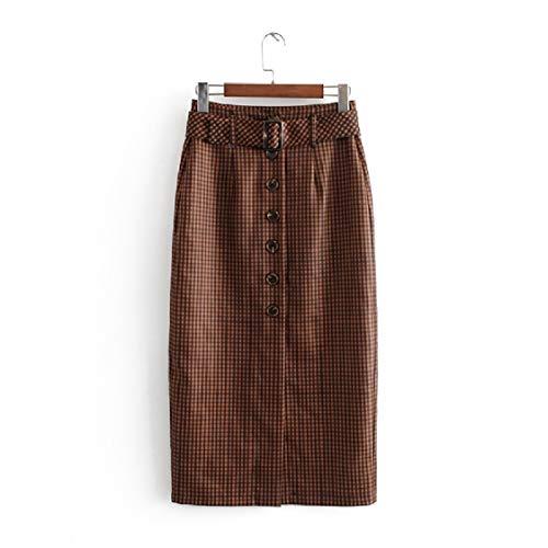 DressUWomen Damen sexy thin over taille plaid belted halbrock XS Braun