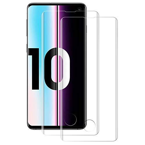 NUOCHENG [2 Stück Panzerglas Schutzfolie für Samsung Galaxy S10, [3D Curved Volle Bedeckung] [HD Klar], [Anti-Kratzen], [Anti-Öl], [Anti-Bläschen] Panzerglasfolie Displayschutzfolie für Samsung S10