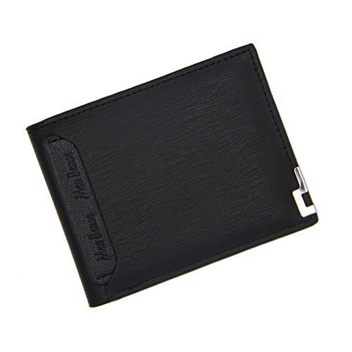 Billetera multifuncional para hombres, cartera de cuero PU, doble capa, capa superior, borde de hierro de moda, monedero, monedero, párrafo corto (negro)