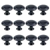 Antrader Flat Black Cabinet Hardware Round Knob with Mounting Screws , 1-Inch Diameter, 12 Pack