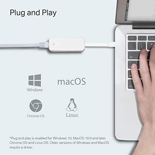 TP-Link USB C auf Ethernet Adapter (UE300C), RJ45 auf USB C Typ C Gigabit Ethernet LAN Netzwerkadapter, kompatibel mit MacBook Pro 2017–2020, MacBook Air, Surface, Dell XPS und mehr