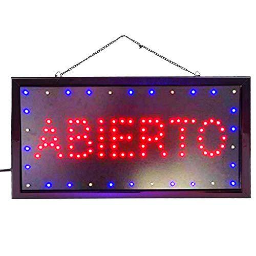 Letrero cartel Panel LED OPEN DOS boton encender luz luminoso señal LED (Abierto-Rojo)