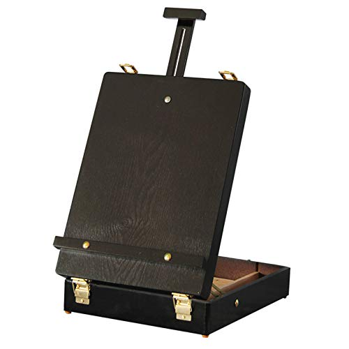 Portable Wooden Box Easel, Adjustable Table Top Easels with 4 Compartments and Leather Carrying Handle, Non-Slip Foot Pads More Stable for School Student Kids,B