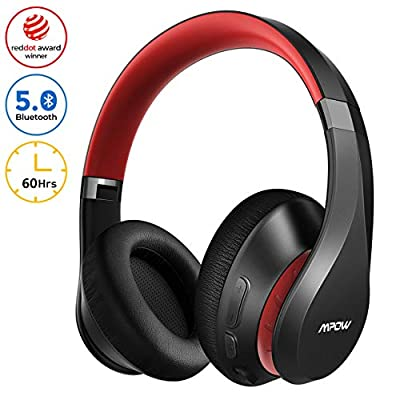 Wireless Bluetooth Headphones Over Ear, Mpow 60Hrs Foldable Headphones with CVC 8.0 Mic, Hi-Fi Deep Bass Bluetooth 5.0 Headsets, Soft Memory-Protein Earpads, Wireless/Wired Mode for Cellphone PC TV