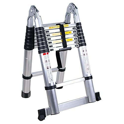 5M Escalera Plegable Escalera Aluminio 2.5M+2.5M Escalera Telescópica Doble Cara Antideslizante Portátil...