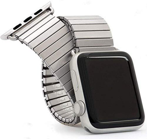 IWINTP - Correa de reloj de acero inoxidable extensible de 42 mm y 44 mm, con expansión de metal cepillado compatible con iWatch Series 6 5 4 3 2 1 SE, color plateado