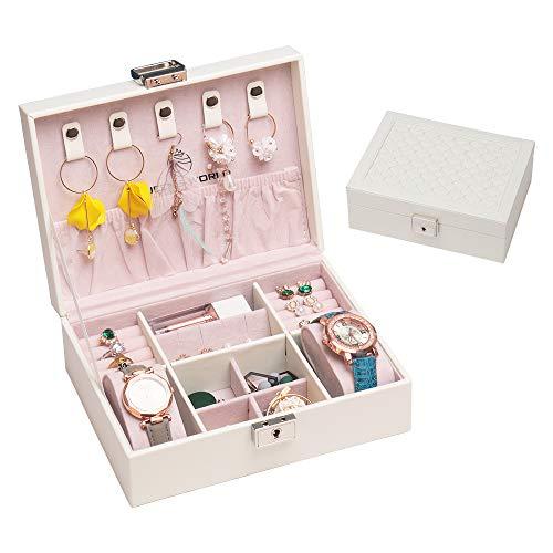 QUEENS WORLD Retro Jewelry Box with Lock for Women and Girls Personalized Jewelry Organizer Box Multifunction Jewelry Storage Box (White)