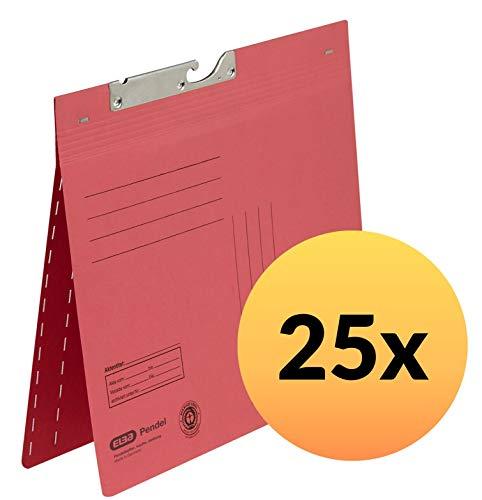 ELBA 100420898 Pendelhefter Zweifalz 25er Pack Doppelhefter aus 320 g/m² Manilakarton Recycling rot