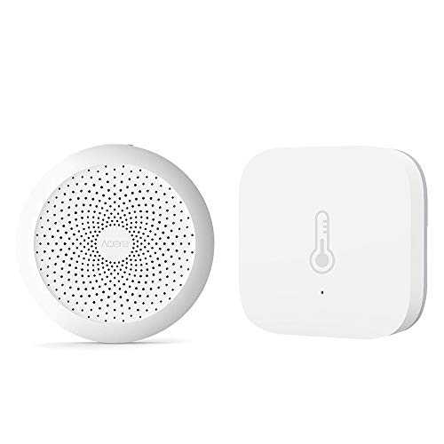 Guangmaoxin für Aqara Smart Home 2 in 1 Kit, Aqara WiFi Remote Control Multifunctional Gateway, Aqara Temperature Humidity Sensor, mit Mijia App und Apple Homekit