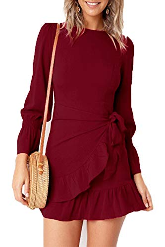 Feager Women's Casual Dresses Fall Long Sleeve Party Wedding Guest Dresses (S, Wine Red)