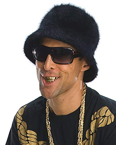 Horror-Shop Gold Grillz Acryl Rapper Zähne für Fasching