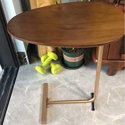 Nachtkastje LKU Creatieve eenvoudige ovale kleine salontafel Mobiele massief houten ijzeren bank Hoektafel Luie leestafel, Sparks Fy 2