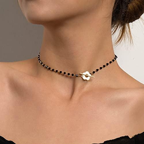 Ushiny Boho - Collar de cuentas de cristal negro con diseño de lazo de flores, collar con bloqueo de semillas, gargantilla con cuentas, cadena, joyería para mujeres y niñas