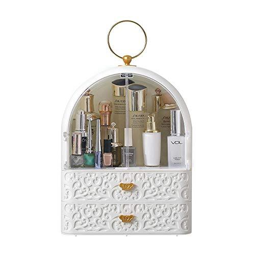 PULLEY Organizador de maquillaje tallado, moderno para joyas y cosméticos con asa, diseño impermeable a prueba de polvo, ideal para baño, aparador, tocador y encimera