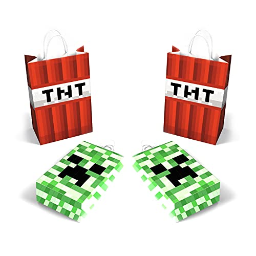 Pixel Miner party supplies 16 pack bags cute Pixel bags favors pixel game paper gift bags for Pixels Miner Party Favors Decor Pixel Miner Birthday Party Decor