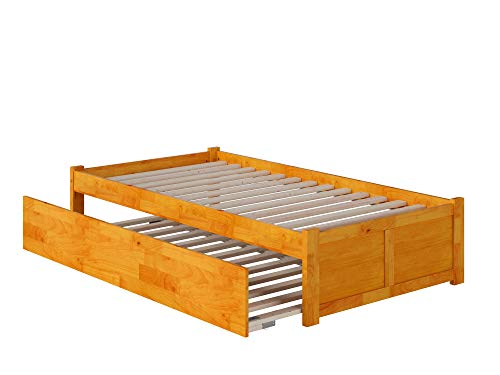 Atlantic Furniture AR8022017 Concord Platform Bed with Twin Size Urban Trundle, Twin, Caramel