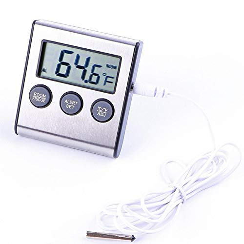 MJJEsports Digitale Koelkast diepvriezer Thermometer Alarm Hoge Lage Temperatuur Lcd Display, Kleur: wit, 1