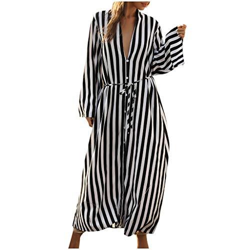 Ropa de Playa a Rayas para Mujer Bikini Cover Up Kimono Cardigan Camiseta Vestido Largo Blusa Botón Traje de Baño Camisolas y Pareos Verano
