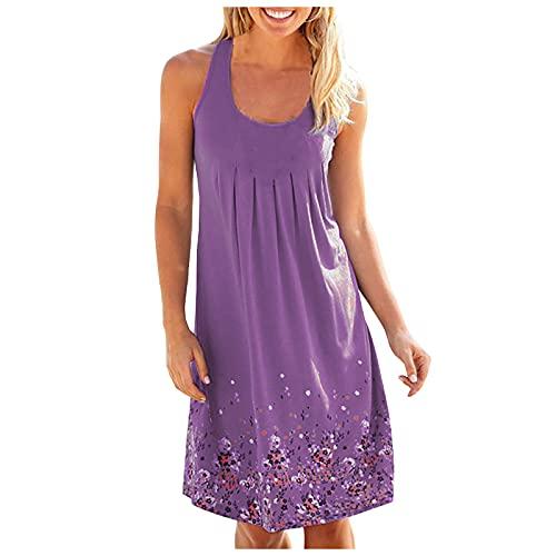 PangkII - Falda de verano estampada para mujer, sin mangas, cuello redondo malva XL