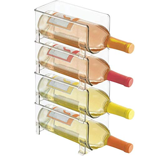 Botellero ultramoderno - Botellero Transparente - Soporte Horizontal para Vino Que prolonga la Vida útil del Vino y del Corcho - Botelleros apilables - 4 Botellas Cada uno - Transparente