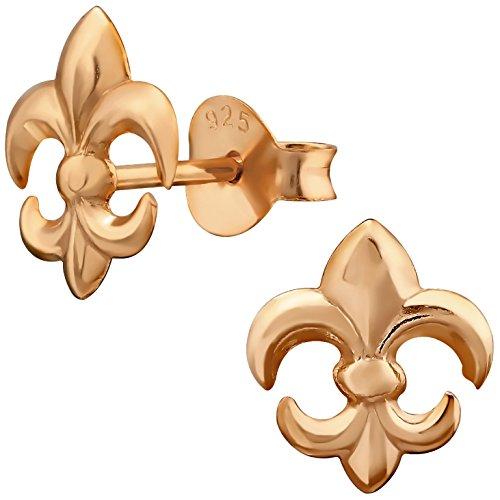 EYS JEWELRY Damen Ohrringe Lilie Fleur de Lis 925 Sterling Silber rosé-vergoldet 9 x 8 mm Ohrstecker Damenohrstecker Damenohrringe