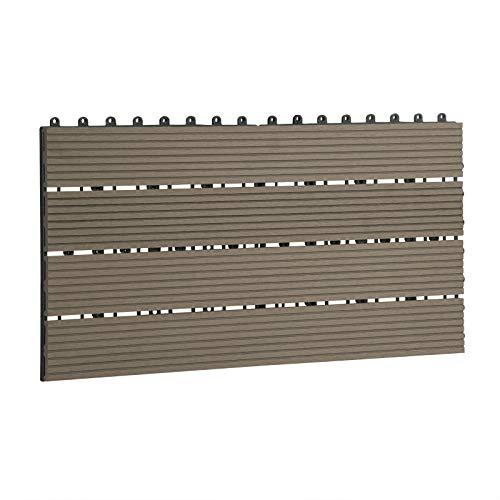 Laneetal Baldosas de Madera 30 x 60 cm Suelo de Exiterior WPC Juego de 6 Suelo Terraza Exterior para Jardín 1m² Suelo Madera Jardin Marrón