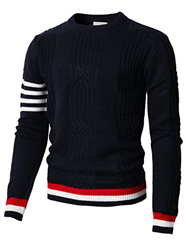 H2H Mens Casual Long Sleeve Crewneck Knitted Sweater of Twisted Patterned Navy US XL/Asia 2XL (KMOSWL0197)