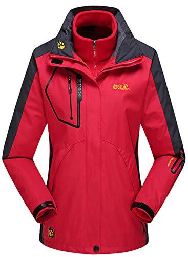 CORAFRITZ Damen Wasserdicht 3 in 1 Skijacke Winter Winddicht Schneemantel mit Fleece Innenseite Gr. 46, rot