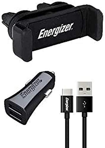 Energizer CKITB2CLI3 Universal Car Kit: 360° Clip Holder + Charger with USB-C Cable - 2 USB - 3, 4A - Cigarette Lighter Socket - Quick Charge and Synchronisation - Black