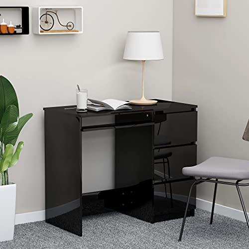 SHUJUNKAIN Escritorio de aglomerado Negro Brillante 90x45x76 cm Mobiliario Mobiliario de Oficina Escritorios Negro Brillante