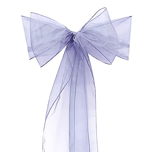 Adeeing Set of 10 Organza Chair Sashes for Wedding or Events Banquet Decor Covers Chair bow sash Wrap Bands 7x108Inhces lemon