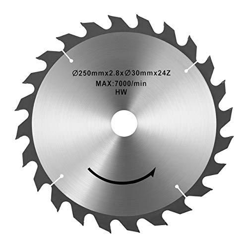 MSW Tischkreissägeblatt MSW-SB-250/30 (Durchmesser: 250 mm, Bohrung: 30 mm, 24 Zähne, 2,8 mm Blattstärke, ideal für Holzschnitte)