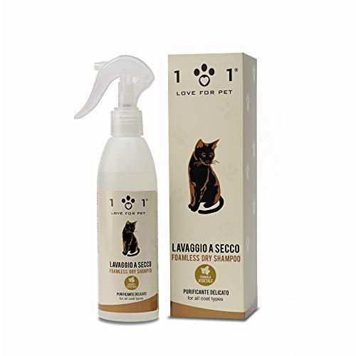 Shampoo a Secco Naturale e Vegetale per Gatto, 250ml -...