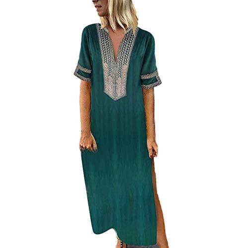 Vimoli Kleider Damen Bedrucktes Kurzarm V-Ausschnitt Party MaxiKleid Saum Baggy Kaftan Langes Kleid Boho Freizeit Kleid (Grün,De-36/CN-M)