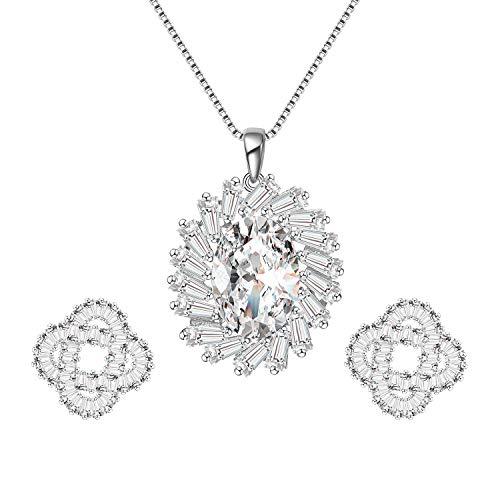 "Menton Ezil ""Phoebus"" Trapezoid Swarovski Crystal 18K White Gold Plated Bridal Necklace Earrings Jewelry Set for Women"