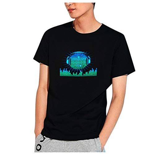 Mingfa Herren T-Shirt Sommer Bedruckte Tops Party Disco DJ Sound aktiviert LED Licht Up und Down Blinken Leuchtende Kurzarm Tee Bluse Gr. XX-Small, Schwarz