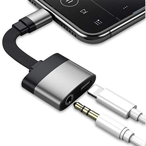 Adattatore jack per cuffie per iPhone 7, doppio convertitore, splitter AUX cavo audio jack per cuffie connettore per gli amanti della musica, per iPhone X/XS/XS/8/8 Plus/7/7 Plus/6. Supporto iOS12