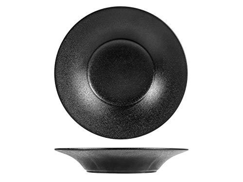 H & H Anthracite Assiette à pâtes, porcelaine, noir, 26 cm
