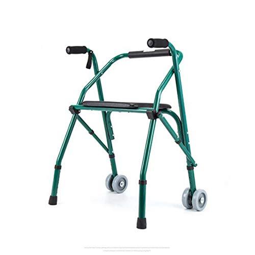 Bueuwe Gehhilfe Mit 2 Rädern, Rollator, Klappbares Gehgestell Für Behinderte, Erwachsene Und Senioren, Stahl, Höhenverstellbar, Gepolsterter Sitz, Grün
