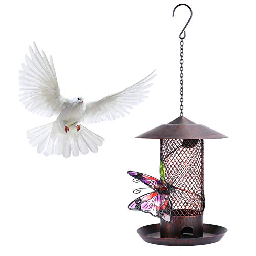 Wild Bird Feeder,14 Inch Hummingbird Feeders Hanging Squirrel Proof Bird Feeders for Outdoors Patio Decor Circular Shaped with Roof