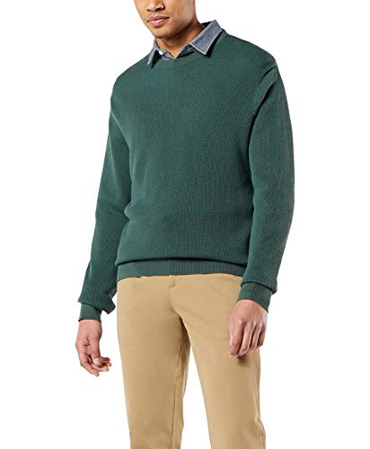 dockers Men's Long Sleeve Crewneck Sweater Henley Shirt, Garden-Textured Stitch, XL