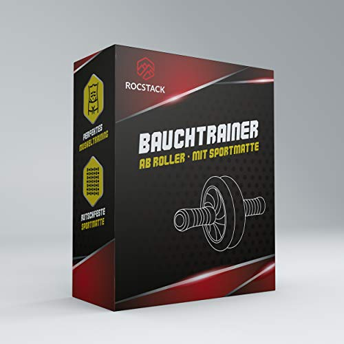 Rocstack Rodillo abdominal con alfombrilla de goma – Esterilla deportiva antideslizante – Bicicleta estática cómoda – Entrenador abdominal único (naranja)