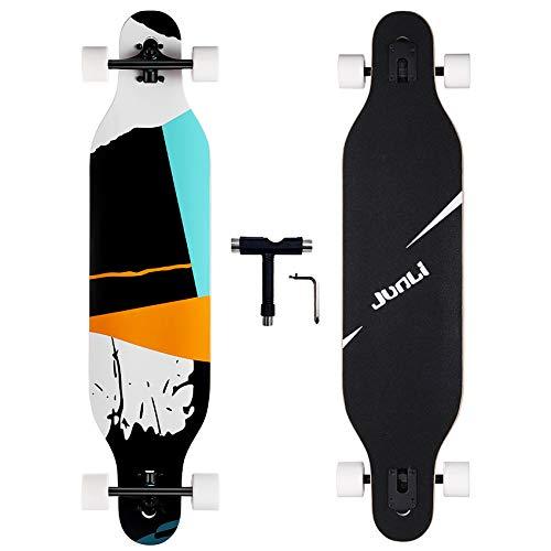 Junli Freeride Longboard Skateboard, 104 cm, Skateboard Cruiser für Cruising, Carving und Downhill (Grid)