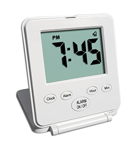 Digital Travel Alarm Clock - No Bells, No Whistles, Simple Basic Operation, Loud Alarm, Snooze,...