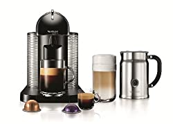 A Nespresso machine set with a cup filled with coffee